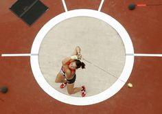 Germany's Kathrin Klaas competes in the women's hammer throw qualification at the 2012 Summer Olympic Games at the Olympic Stadium in London Aug. 8, 2012. (AP Photo/Pawel Kopczynski, Pool)