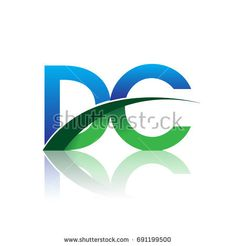 initial letter DC logotype company name colored blue and green swoosh design. vector logo for business and company identity.