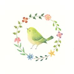 """Little Green Bird and Wreath"" −RiLi, picture book, illustration, design ___ ""緑色の小鳥と花の輪"" −リリ, 絵本, イラスト, デザイン ...... #illustration #bird #green #wreath #イラスト #鳥 #緑 #花輪"