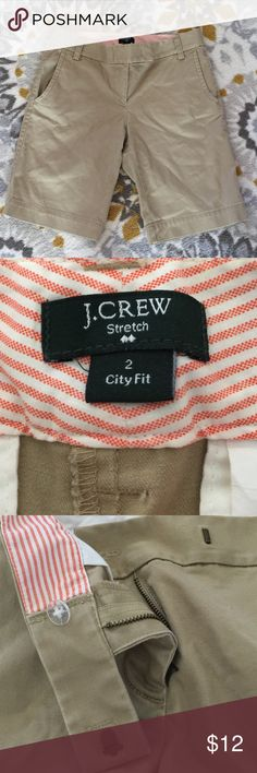 """J. Crew City Fit Shorts J.Crew City Fit Shorts - Khaki in color, fabric does have some stretch to it. Great condition, no flaws or stains. Size 2. *measurements (taken lying flat) waist - 15"""", hips - 17"""", inseam - approx. 10"""". 97% cotton, 3% spandex. J. Crew Shorts Bermudas"""