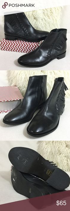 """TopShop BRAND NEW Black leather fringe ankle boot TopShop BRAND NEW Black real leather fringe ankle boot. Boho Chic and super stylish with the braiding and fringe detail. States size 9/42 conversion is about a size 9.5 US Wonderful condition only tried on. Side zippers for easy on/off. Boot measures 6"""" tall including 1"""" heel. Insoles measure 10.5"""" long. TopShop tag attached. 916-753 Topshop Shoes Ankle Boots & Booties"""