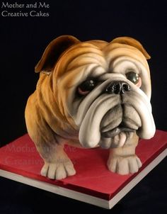 British Bulldog - Cake by Mother and Me Creative Cakes Fancy Cakes, Cute Cakes, Crazy Cakes, Bulldog Cake, Realistic Cakes, Sculpted Cakes, Animal Cakes, Dog Cakes, British Bulldog