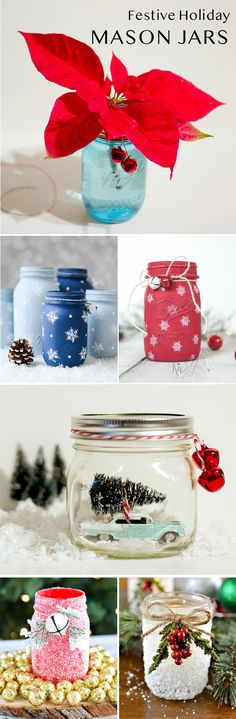 Make festive mason jar Christmas crafts, including ornaments, centerpieces, luminaries mantel ideas, and more!