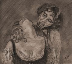 Time for a bite in 'Vampire Circus'. Freehand sketch using HB pencil and eraser. Darkened and tinted digitally.