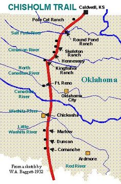 The Chisholm Trail Was A Trail Used In The Late Th Century To - Chisholm trail map