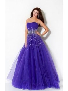 Wholesale Royal Blue Ball Gown Floor-length Organza Strapless Dress With Sequins