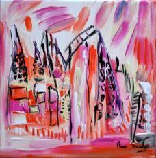 """Découvrez le tableau du jour : """"de retour chez lui"""". 20 x 20 cm. acrylique sur toile au couteau. Une oeuvre à découvrir sur http://www.amesauvage.com"""