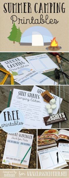 Summer Camping Printables - These would be so fun to have out on a campout! Click to print yours for free! - www.classyclutter... >>> Want additional info? Click on the image.