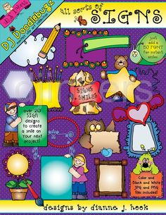 Cute Clipart Signs, Tags & Frames by DJ Inkers