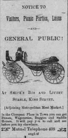 Notice to visitors, picnic parties, luaus and general public! At Smith's Bus and Livery Stable, King Street, is the cheapest place in town you can get busses, wagonettes, buggies, and saddle horses.  Smith Bus Hawaii holomua, September 14, 1894 http://chroniclingamerica.loc.gov/lccn/sn82016410/1894-09-14/ed-1/seq-1/  Read about Hawaii's first automobile: https://hdnpblog.wordpress.com/historical-articles/hawaiis-first-automobiles/  Hawaii Digital Newspaper Project…