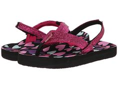 Reef Kids Little Ahi Stars (Infant/Toddler/Little Kid/Big Kid) Black/Hearts - Zappos.com Free Shipping BOTH Ways