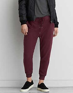 AEO Ahh-mazingly Soft Lace-Up Jogger Pant, Burgundy   American Eagle Outfitters