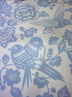 blue bird fabric for dining room chairs