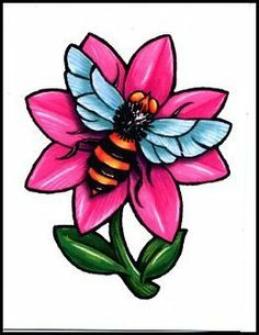 """Bee & Pink Flower Temporaray Tattoo by Tattoo Fun. $3.95. This is a colorful Temporary tattoo of a bumble bee sitting on top of a pink flower. It measures approx 2 3/4"""" long x 2 1/4"""" wide."""