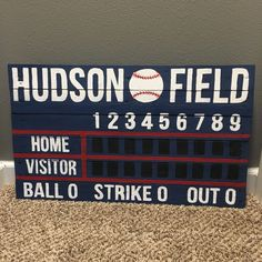 Custom Wooden Scoreboard Artwork - great for nurseries, wedding decor, kids rooms, and man caves! Baseball Nursery, Baseball Scoreboard, Boys Baseball Bedroom, Boy Sports Bedroom, Baseball Signs, Angels Baseball, Baby Boy Rooms, Kids Rooms, Baby Room