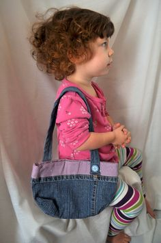 Nora modeling  Girls Denim Purse  Handmade from Recycled Denim Jeans by OurMommie, $15.00