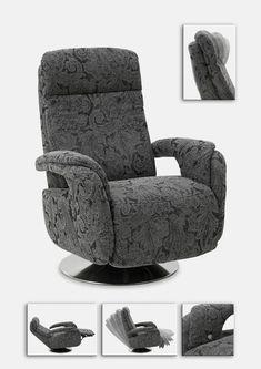 Atraktivní a pohodlné otočné relaxační křeslo, použitelné i jako doplněk k sedacím soupravám. Dostupné v celokoženém (L) provedení. Funkce: polohovatelná hlavová část, manuální polohování, dotykové polohování s 1-motorem, dotykové polohování s 2-motory. Recliner, Armchair, Lounge, Furniture, Home Decor, Chair, Sofa Chair, Airport Lounge, Single Sofa