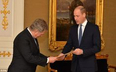 Prince William also took time to meet Finnish President Sauli Niinisto and present him wit...