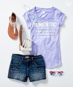 Bring on the bling! Shimmer in the sun in these studded denim shorts and perfectly-matched accessories.