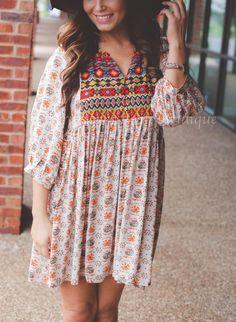 Umgee USA Taupe Navajo Dress Tunic Babydoll Country Boho Chic Soft Cotton S,M,L #ClothingBucket #Tunic #Casual