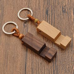 Natural Wood Phone Holder Stand Pendant Keychain Car Keyring Fashion Accessories | eBay