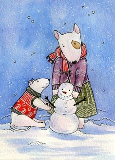 Bull Terrier art, son and mother Bullies making a snowman.