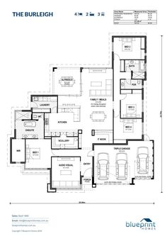 The Burleigh - Blueprint Homes Best House Plans, Dream House Plans, Modern House Plans, House Floor Plans, House Layout Plans, House Layouts, House Plans Australia, Plans Architecture, Woodworking Projects