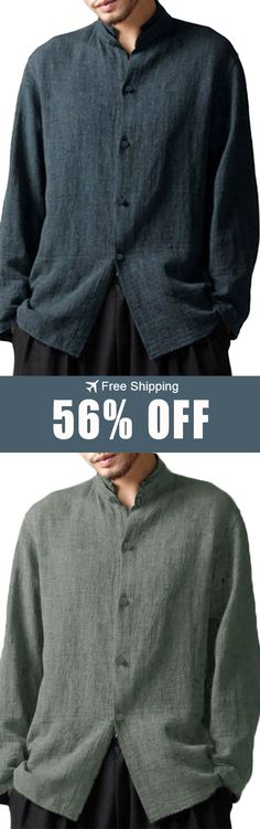 588595e4 Free Shipping INCERUN 56% Off Mens Vintage Chinese Style Cotton Stand  Collar Casual Long Sleeve Loose Shirts Plus Size GET NOW!