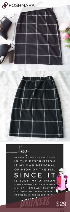 """NWT Black + White Window Pane Plaid Pencil Skirt ✦   ✦{I am not a professional photographer, actual color of item may vary ➾slightly from pics}  ❥waistband: (stretchy)13.5"""" ❥hips:18"""" ❥length:22.5"""" ❥measurements taken flat/fabric has stretch  ➳material/care:rayon+polyester+5%spandex/hand wash  ➳fit:closer to med than lrg  ➳condition:new w/tag   ✦20% off bundles of 3/more items ✦No Trades  ✦NO HOLDS ✦No transactions outside Poshmark  ✦No lowball offers/sales are final Monteau Skirts A-Line or…"""
