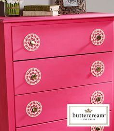 Create personalized decor like this stenciled dresser with the lush and lovely Buttercream line of continental craft components, finished home decor items, baking supplies and unique print fabrics.