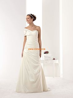 Elegant Taffeta One Shoulder Mermaid Court Train Wedding Dresses Cheap