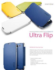 La carcasa Leather Ultra Flip trae una base de plástico duro para asegurar que el Galaxy S3 quede firmemente fijada en el interior. La cubierta está hecha de cuero sintético de alta calidad y está forrado con microfibra suave para proteger la pantalla del teléfono. Está diseñado con los cortes adecuados para el altavoz, cámara y otras acciones, lo que proporciona mejor rendimiento, tanto en funcionalidad y seguridad. Colores disponibles: Azul, gris y amarillo.