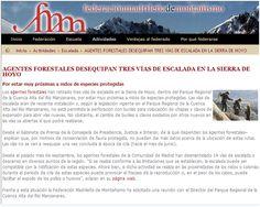 Noticia aparecida en prensa sobre actividades de escalada ilegal en la Sierra de Hoyo.