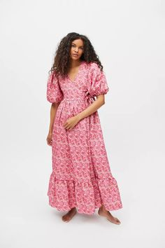 Sister Jane Bud Burst Jacquard Maxi Dress | Urban Outfitters Urban Outfitters, Textiles, Jacquard Fabric, Wrap Dress, Sisters, Short Sleeve Dresses, Neckline, Floral, Puff Sleeves