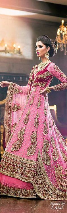 This bright pink and red indian wedding lehnga can be worn for an indian wedding reception or even an indian wedding sangeet