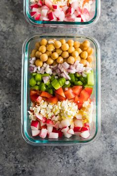 Chopped Chickpea Salad (Make Ahead) - Filly T. This meal prep chopped chickpea salad can be made on the weekend and enjoyed throughout the week! Store them in meal prep containers, or as jar salads. Vegetarian Meal Prep, Lunch Meal Prep, Easy Meal Prep, Healthy Meal Prep, Vegetarian Recipes, Easy Meals, Healthy Recipes, Healthy Protein, Delicious Recipes