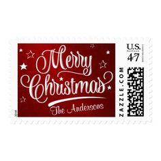 Merry Christmas Retro Script Holiday Postage #christmas #stamp