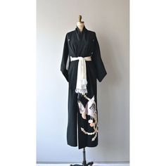 Ichi Tori kimono black embroidered kimono vintage japanese kimono ❤ liked on Polyvore featuring intimates, robes, kimono robe, black kimono, tie belt, ichi and black robe