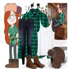 """Wendy: Gravity Falls"" by swaaagg ❤ liked on Polyvore featuring moda, Uniqlo, Victoria's Secret, Frame Denim, Overland Sheepskin Co. e Timberland"