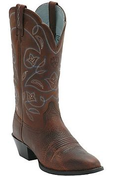 Ariat Ladies Heritage Brown w/ Blue Stitching Western Boots