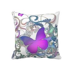 """Elegant #Butterfly Swirl Pillow $72 Throw Pillow 20"""" x 20""""  Accent your home with custom pillows. Made of 100% grade A cotton. The perfect complement to your couch, custom pillows will make you the envy of the neighborhood.      Sizes 20""""x20"""" (square) and 13""""x21"""" (lumbar).     100% grade A woven cotton.     Fabric is made from natural fibers, which may result in irregularities     Made in the USA.     Hidden zipper enclosure; synthetic-filled insert included.     Machine washable."""