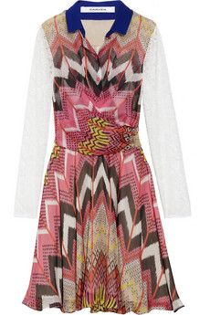 Carven  Printed silk-chiffon and lace dress