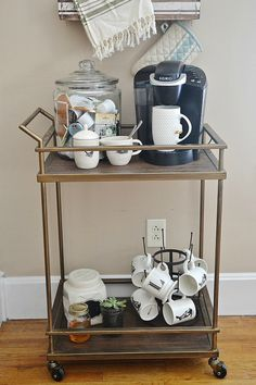 Like the idea of a bar cart for coffee and cups if you don't have a lot of counter or storage space
