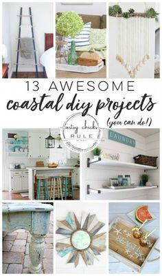 13 Awesome Coastal DIY Projects - You Can Do! (coastal decor, rooms & more! - Artsy Chicks Rule - Lots of DIY, Decorating on a Budget, Furniture Makeovers, Repurposing and More! Coastal Style, Coastal Decor, Beachy Room Decor, Decor Crafts, Diy Home Decor, Diy Projects Cans, Interior Design Advice, Nautical Home, Nautical Design