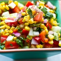 Mexican Corn Salad was a very big hit. I didn't have the coriander but other wise followed it. Cumin, cilantro, rice vinegar, sweet corn, cucumbers,red peppers, onions red and salt and pepper to taste