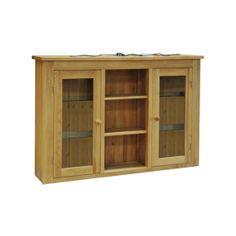 Contemporary Solid Oak QPMDT 1.5 DR Glazed Dresser Top  www.easyfurn.co.uk Oak Dresser, Dresser Top, Wooden Furniture, Solid Oak, Tuscany, Bathroom Medicine Cabinet, Bookcase, Shelves, Contemporary
