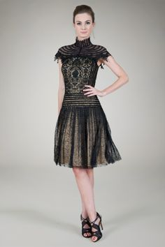 Tadashi Shoji Pleated Chantilly Lace High Neck Cocktail Dress in Black / Nude -