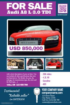 Auto sale poster with photo, description and specifications http://www.postermywall.com/index.php/poster/view/0704963f5207bae64f0724d6ac56efdf