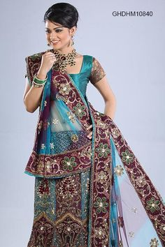 Bridal Lehenga http://www.homeindia.com/brides/lehenga-choli/purple-and-turquoise-net-lehenga-choli-p-ghdhm10840.html