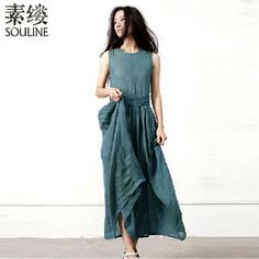 Souline Summer Women's Vintage Dresses New Brand 2014 Women's O-neck Solid A-Line Casual Dress SL4351 Free Shipping